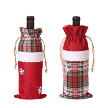 New Year Santa Clause Snowman Drawstring Xmas Gifts Bags Christmas Wine Bottle Cover Bag Jewelry Pouches
