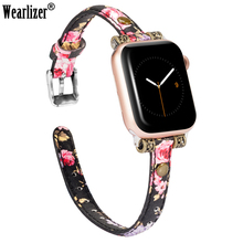 цена на Wearlizer Silm Leather Watchband for Apple Watch Band Series 4/3/2/1 Sport Leather Bracelet 42 mm 38 mm Strap For iwatch Band 5