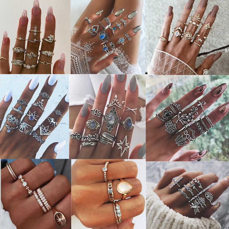 15pcs/lot Fashiopn Mulit style Ring Sets For Women Trendy Boho Alloy Anel Anillo Jewelry Geometric Silver Gold Hollow Rings
