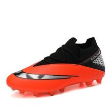 Soccer-Shoes Cleats Football-Boots Spike Trainning Sport-Long Original Man Orange Black