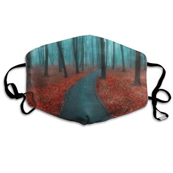 Autumn Landscape Forest Tree Foggy Marvellous Dust Mouth Mask Reusable Anti-Dust Face Mask Adjustable Earloop Skin Protection dust face mask anti dust cover protection cover face sheild plastic mask prevent droplets reusable protection face h53