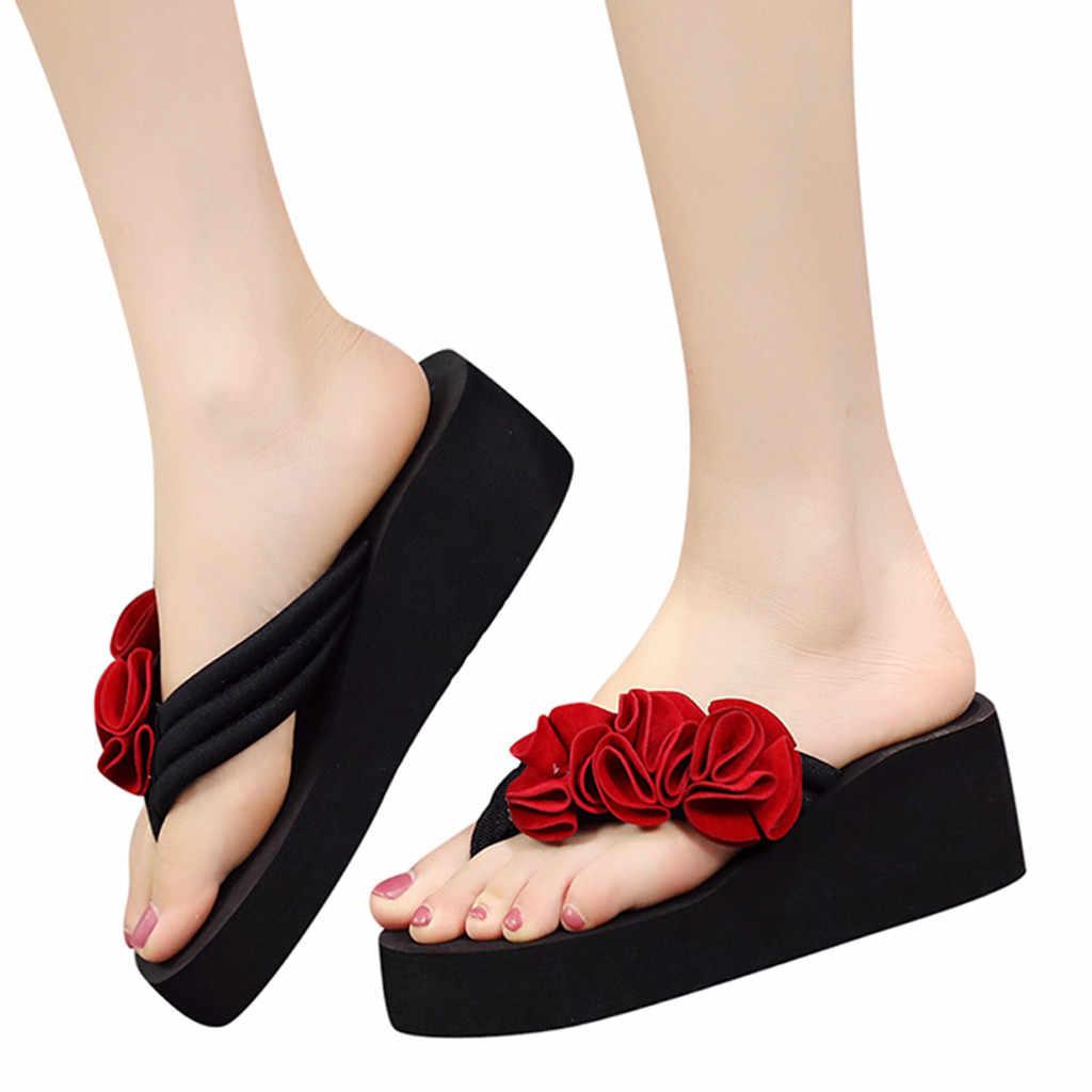 Giày Nữ Hoa Mùa Hè Kẹp Mũi Giày Xăng Đan Nữ Đế Xuồng Dép Sandalia Feminina Nữ Đi Biển Dép Mujer