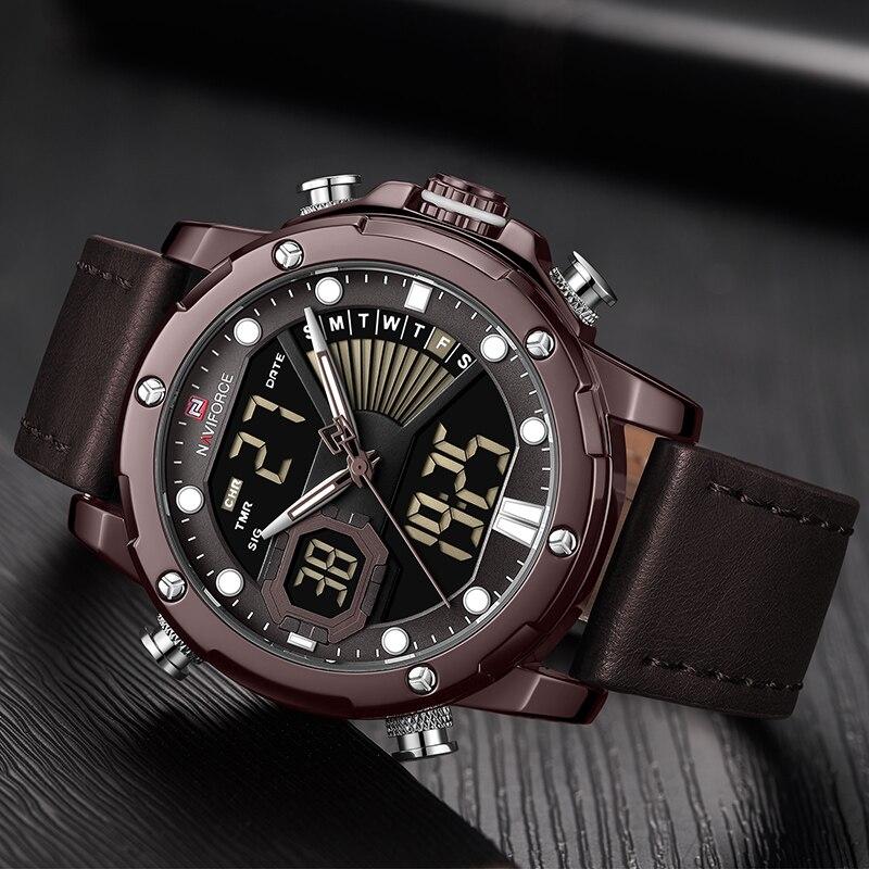 NAVIFORCE, роскошные брендовые часы, мужские кварцевые часы, мужская мода, Авто Дата, светодиодный, двойной дисплей, браслет, Прямая поставка, Reloj ... - 5