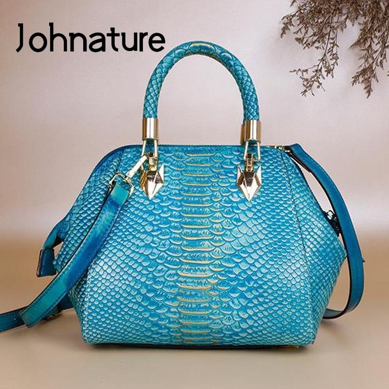 Johnature Retro Hand Painted Genuine Leather Women Handbag 2020 New Leisure First Layer Cowhide Female Shoulder Messenger Bag