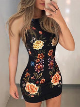 2019 frauen Elegante Sexy Slim Fit Mini Kleid Weibliche Milch Seide Vintage Party Kleid Floral Print Ärmel Bodycon Kleid(China)