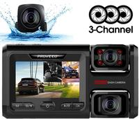Pruveeo D40 Three and Dual Channel Dash Cam, Front Inside and Rear with Backup Camera, Dash Camera WiFi, G Sensor Loop Recording