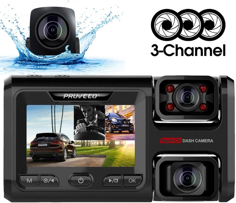 Pruveeo D40 Three and <font><b>Dual</b></font> Channel Dash <font><b>Cam</b></font>, Front Inside and Rear with Backup Camera, Dash Camera <font><b>WiFi</b></font>, G-Sensor Loop Recording image