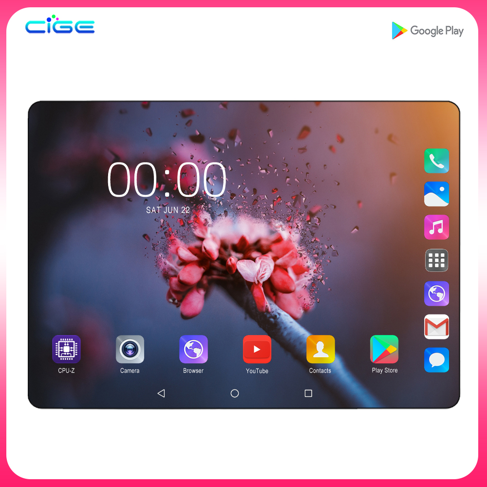 Super Tempered 2.5D Glass 4G FDD LTE Phon 10 Inch Tablet Pc Octa Core 6GB RAM 128GB ROM 1280*800 IPS Screen WIFI Android 9.0 GPS