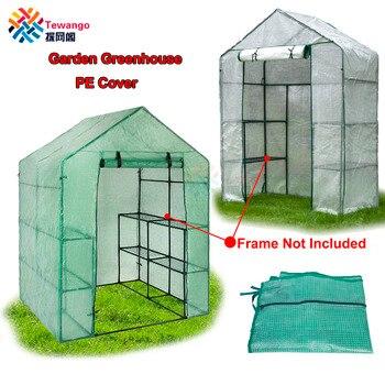 Tewango Garden Greenhouse PE Cover rośliny utrzymuj ciepło Sunroom na kwiaty Roll-up Windows bez ramki 69*49*160cm/143*73*195cm