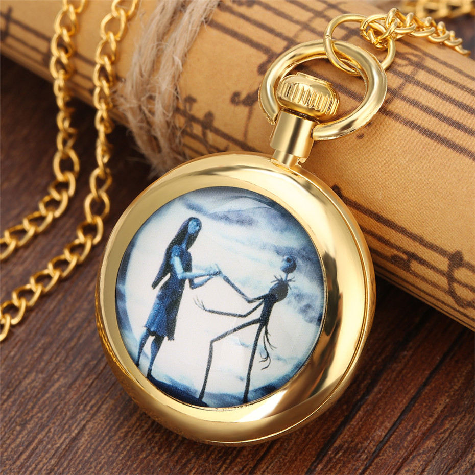 Exquisite The Nightmare Before Christmas Theme Quartz Pocket Watch For Kids Golden Necklace Chain Roman Numerals Display Dial