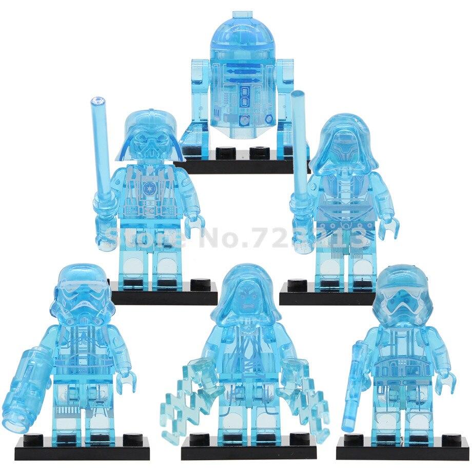 Single Star Wars Holographic Vision Figure Darth Vader Revan Trooper Emperor Palpatine R2D2 Building Blocks Bricks Toys Legoing