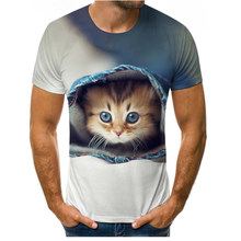 New summer fun and cute cat 3D printing male/female T-shirt O-neck short-sleeved casual oversized T-shirt Parent-child wear