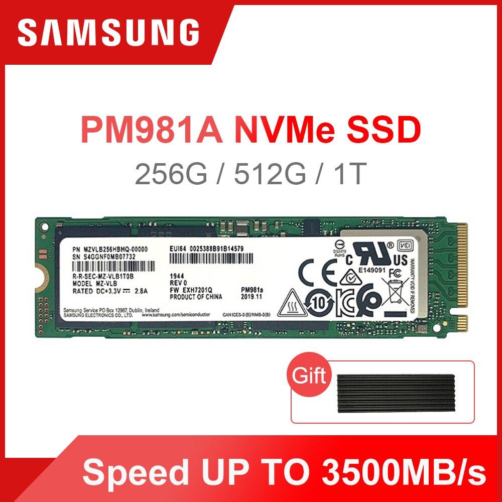 SAMSUNG M 2 SSD PM981A 256GB 512GB 1TB Internal Solid State Drives  M2 NVMe PCIe 3 0 x4  Laptop Desktop SSD with HeatSink