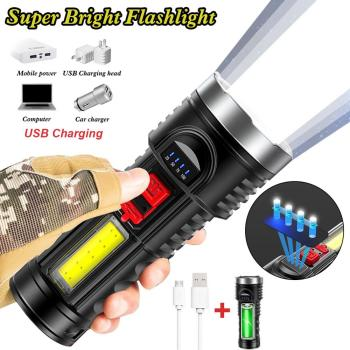 LED Tactical Flashlight Portable Handheld Rechargeable Flashlight 4 Modes Super Bright for Camping Hiking Fishing Emergency super bright pen light mini portable led flashlight 1switch mode mini led flashlight for the dentist and for camping hiking out