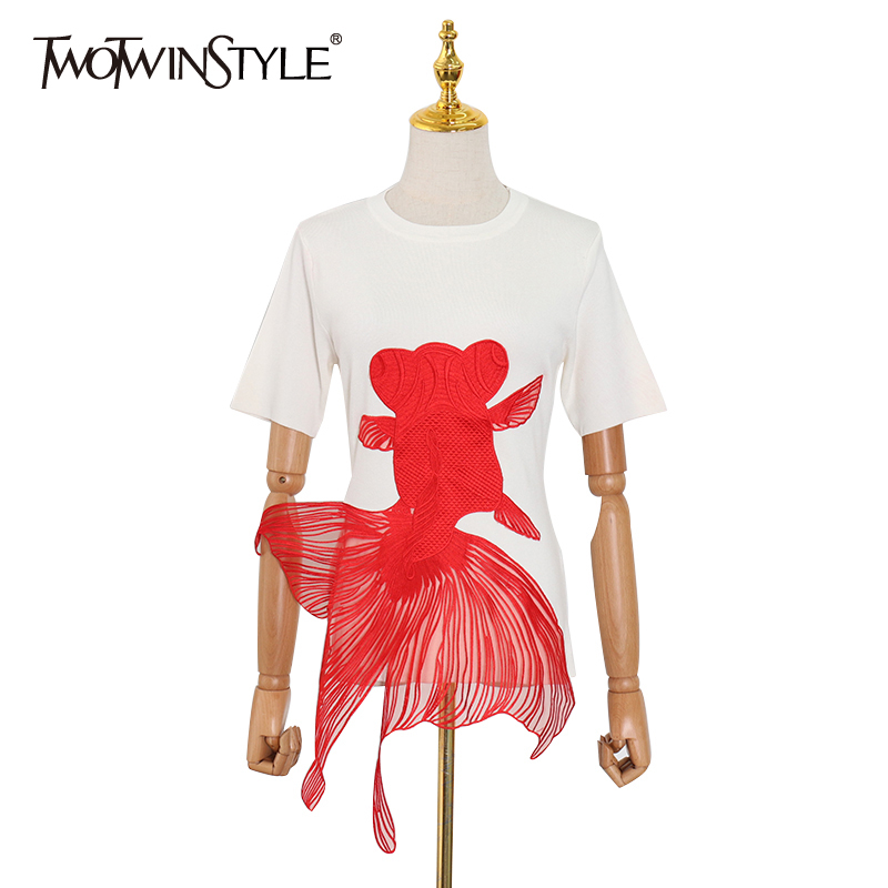 TWOTWINSTYLE White Embroidery Hit Color Women's T Shirts O Neck Short Sleeve Casual T-shirts Tops Female 2020 Spring Fashion New
