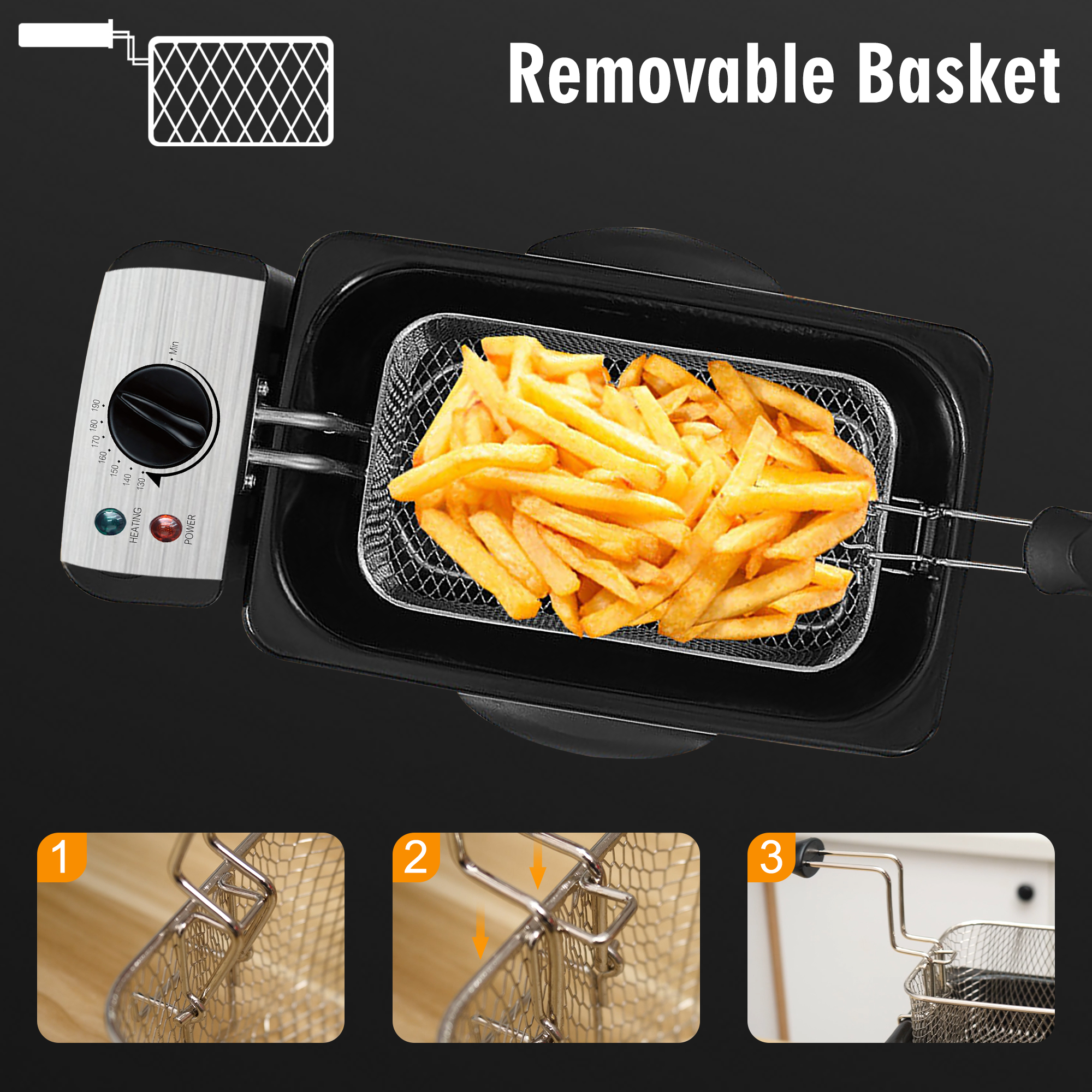 Electric Deep Fryer 3L French Frie Frying Machine Oven Hot Pot Fried Chicken Grill Adjustable Thermostat