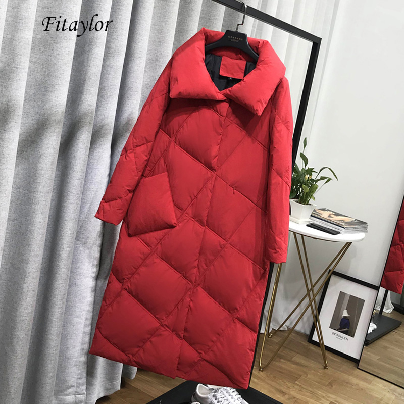Fitaylor Winter Long Down Jackets Women Ultra Light White Duck Down Parka Casual Slim Red Overcoat Female Covered Button Outwear