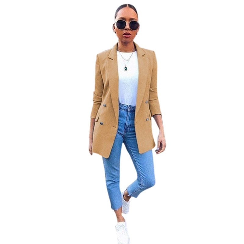 Blazer Womens Solid  Long Jackets Elegant Office Ladies Turn Down Collar Casual Coats Female Outerwear Autumn Clothes