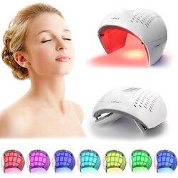 7 cores pdf led terapia de luz máscara facial rejuvenescimento da pele dispositivo fóton spa acne removedor anti-rugas luz vermelha cuidados com a pele