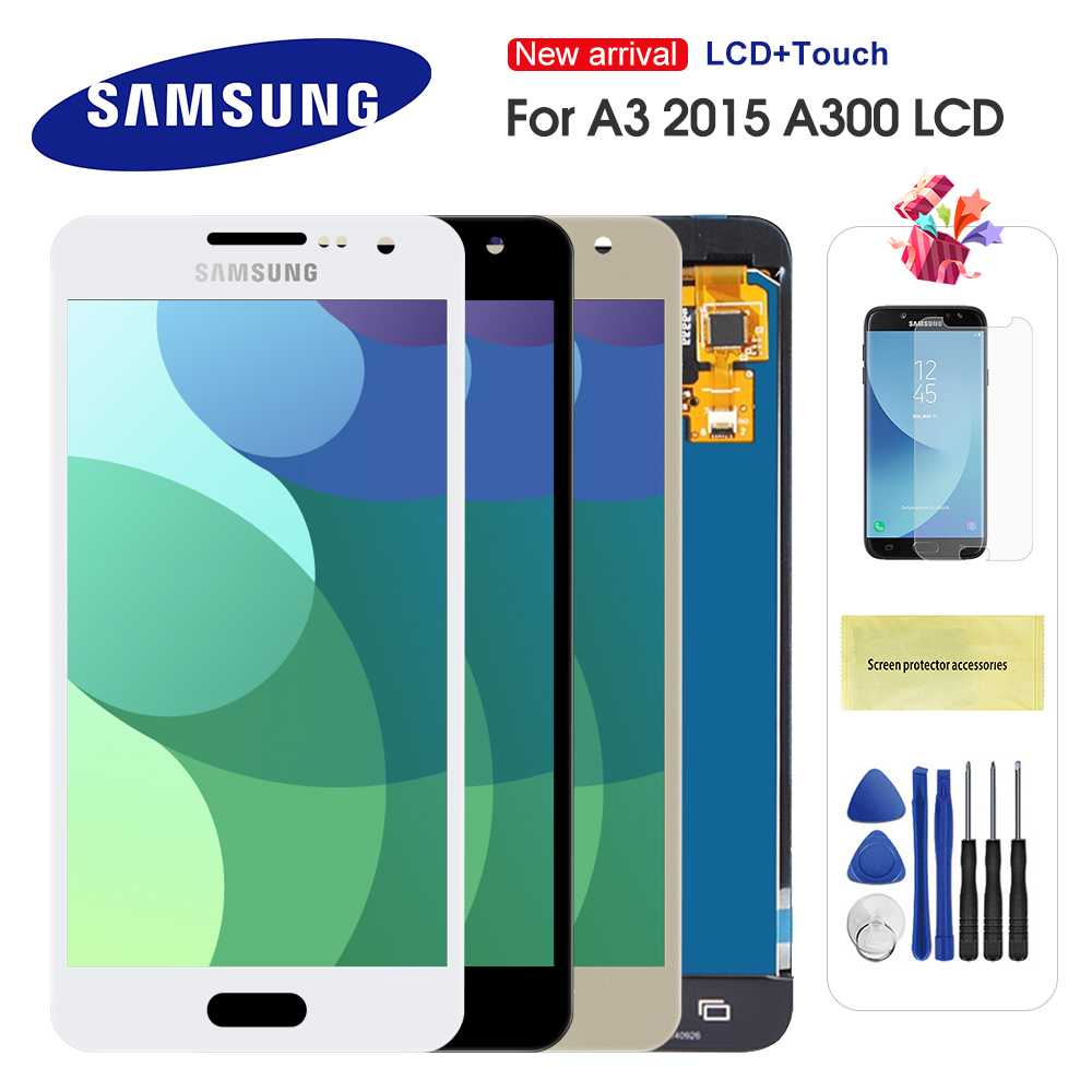 For Samsung Galaxy A3 2015 A300 A3000 A300F A300M LCD Display Touch Screen Digitizer Assembly Can Adjust Brightness(China)
