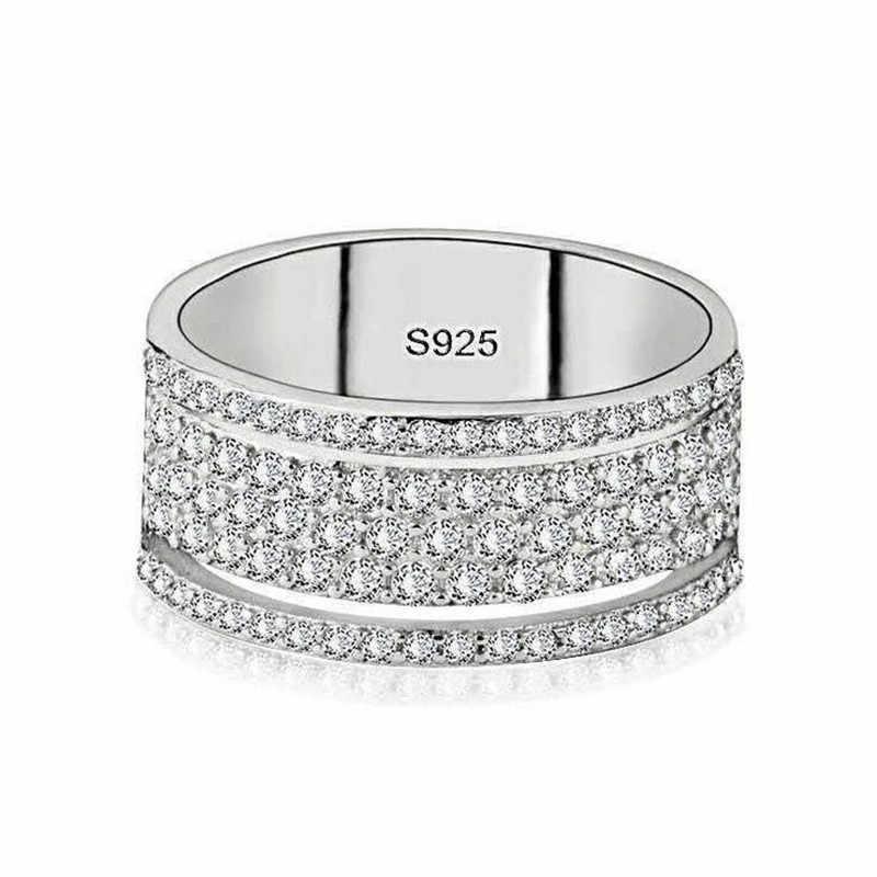 4 estilo venda quente jóias de luxo 925 prata esterlina pavimentar branco claro aaaaa zircão cúbico eternidade moda feminina anel de banda de casamento
