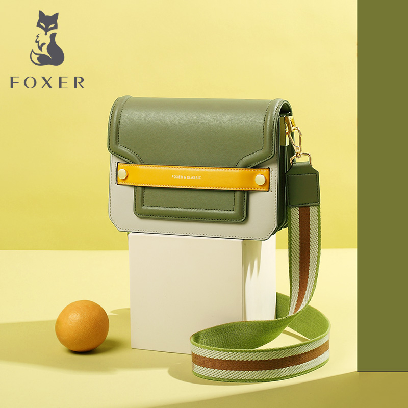 FOXER Avocado Green New Fashion Shoulder Bag Female High Quality Leather Women Messenger Bag Early Autumn CONTRAST COLOR Design
