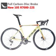 Opony SAVA rower szosowy wyścigowy węgla rower szosowy 700c rower szosowy węgla pełna węgla rower szosowy z SHIMANO 105 R7000 i hamulec tarczowy tanie tanio Unisex Z włókna węglowego Road Bike Carbon Fibre 150-180 cm 0 1 m3 Nie Amortyzacja Zwyczajne pedału Rama twardego (nie tylny amortyzator)
