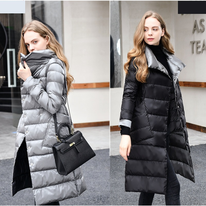 X-Long women's double-sided   down   jacket jacket 2019 winter high collar white duck   down     coat   double-breasted warm Parker jacketXL