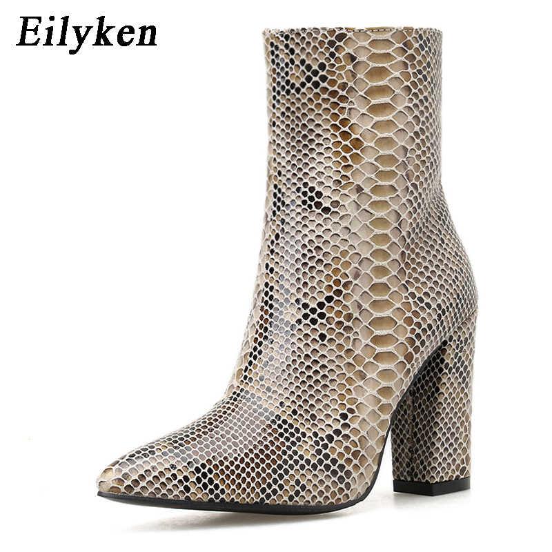 Eilyken kadın fermuar çizmeler yılan baskı yarım çizmeler kare topuk moda sivri burun bayan ayakkabıları 2020 yeni Chelsea çizmeler boyutu 42