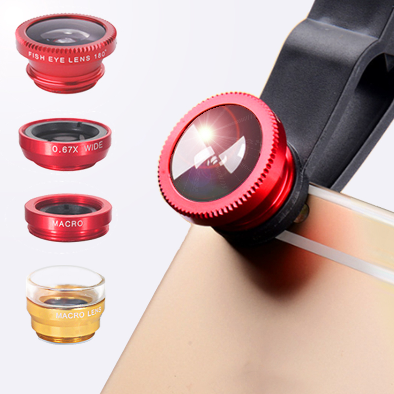 Orsda Phone Lens Fisheye Lens 0.67x Wide-angle Zoom Lens Fisheye Lens 6x Macro Lens Camera Kit (with Clip Lens) For Smartphones