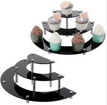 Acrilico Del Bigné Del Basamento 3 Livelli Del Basamento Della Torta piatto da Dessert Piatto da Portata Per Il Natale di Cerimonia Nuziale di Compleanno Del Partito Artigianato Modelli di Visualizzazione del Rack