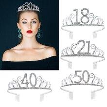 18 21 30 40 50 с украшениями в виде серебристых кристаллов Стразы тиара принцессы короны для девочек повязки для волос, аксессуары для волос для ж...