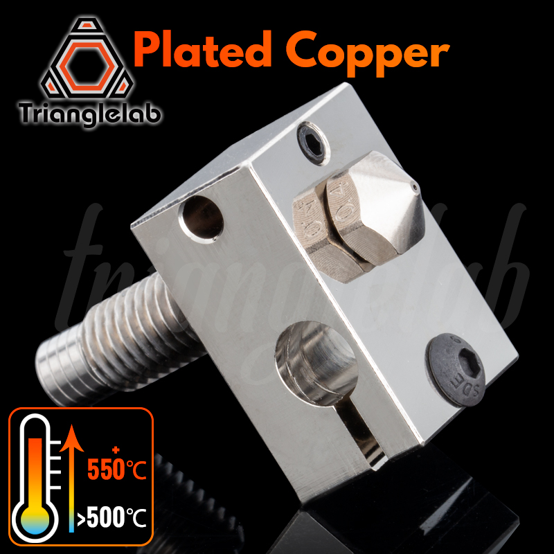 trianglelab V6 Plated Copper Kit NOZZLE   Heat BLOCK  TC4 Titanium alloy Heat Break  for PETG carbon fiber PEI PEEK ABS NYLON