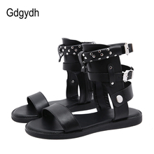 Gdgydh Sexy Rivets Ankle Strap Black Flat Sandals Women Metal Buckle Rome