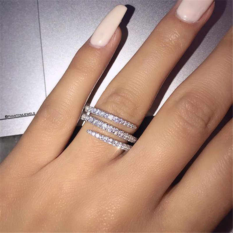 VAGZEB S925 Cute Female Full CZ Stone Finger Ring Luxury 925 Sterling Silver Engagement Ring Colorful Zircon Rings For Woman