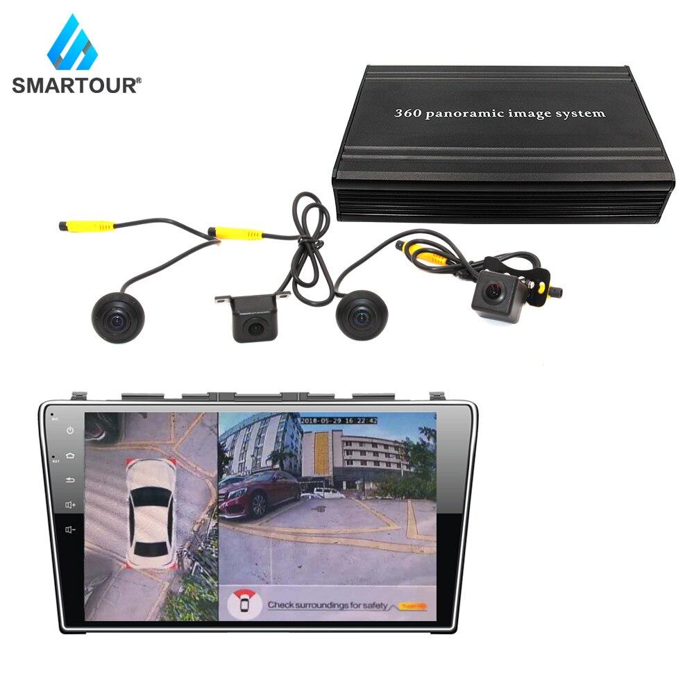 Bulat Lihat Sistem DVR Di Sekitar Parkir Mobil Keamanan Rekaman 360 Derajat Burung Panorama Sistem Depan Kiri Kanan Belakang Kamera