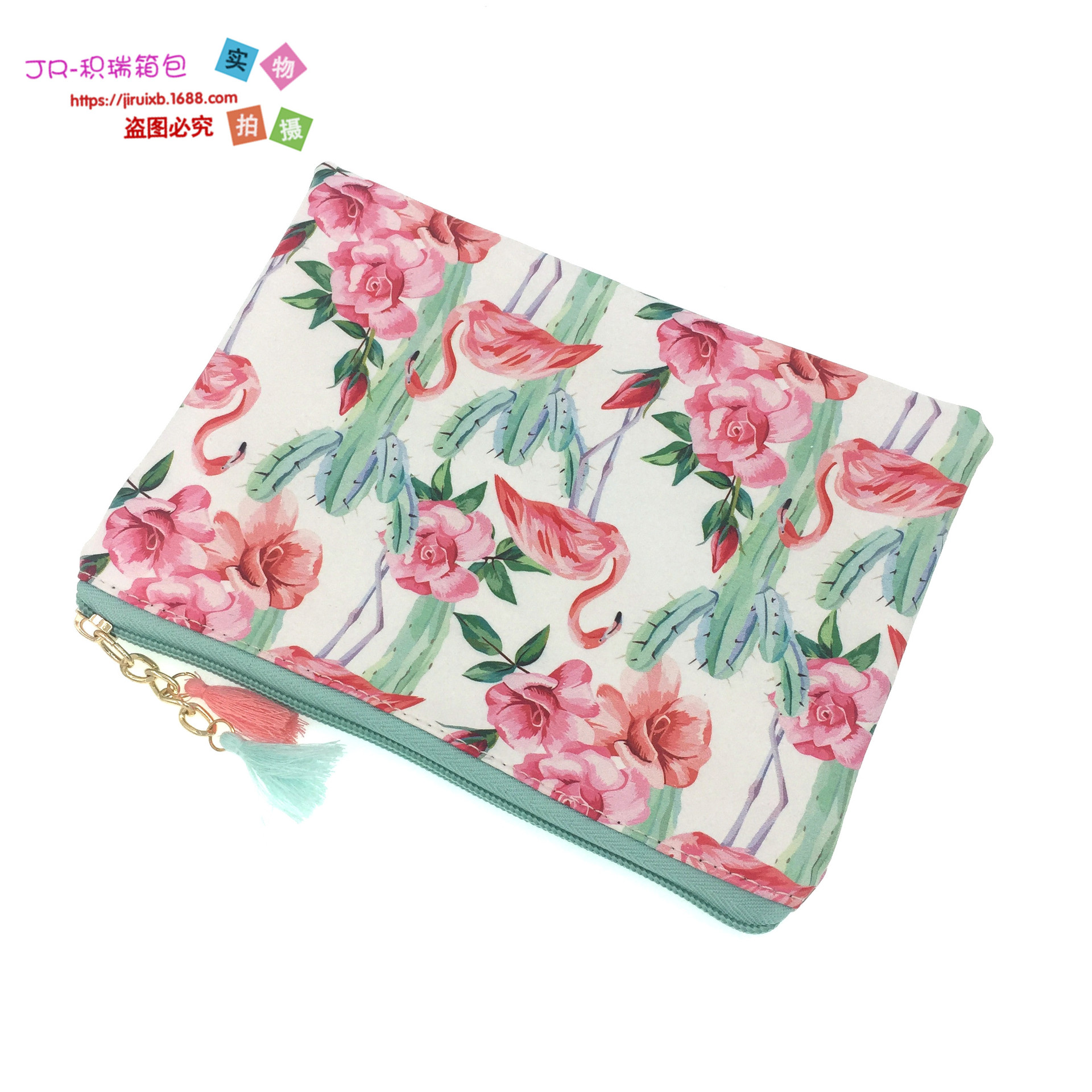 2018 New Style Hot Sales Europe And America Cactus PU Purse Document Package Tassels Cosmetic Bag Clutch Bag