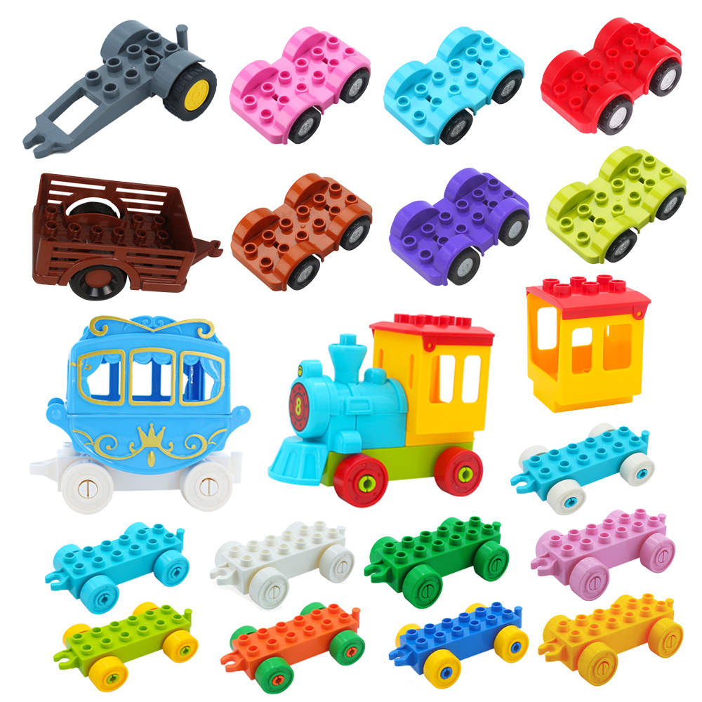 Big Building Blocks Traffic Vehicle Train Motorcycle Car Bottom Carriage Trailer Boat Bricks Accessory Toy Compatible with