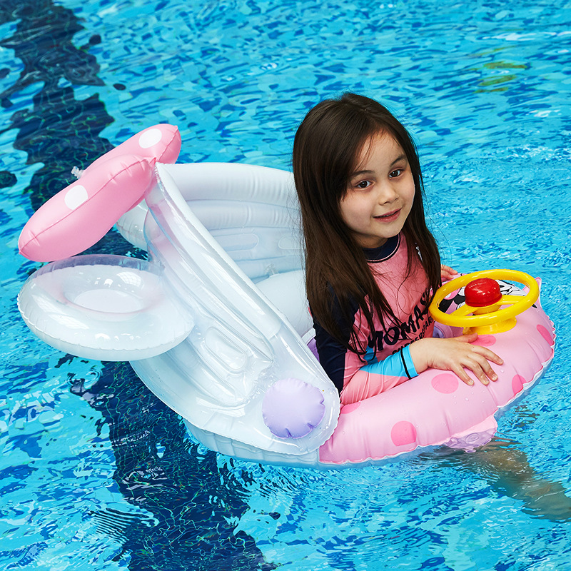 Sunshade-Seat Lifebuoy Baby Inflatable with Steering-Wheel Swimming-Ring Infant Children's title=