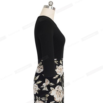Nice-forever Retro Vintage Floral Printed Office Dresses