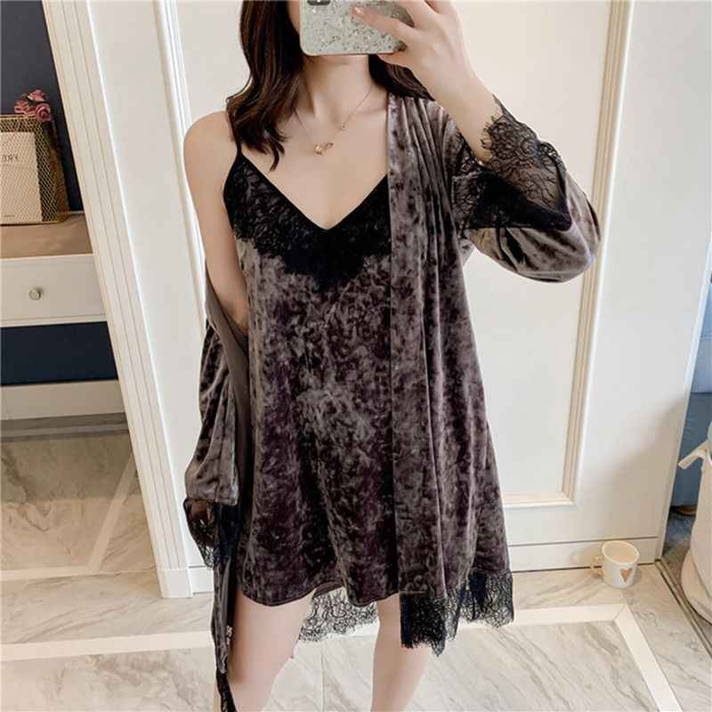 Chemise de nuit femme pyjamas fronde robes deux pièces costume à manches longues confortable service à domicile pour garder au chaud pyjamas d'hiver