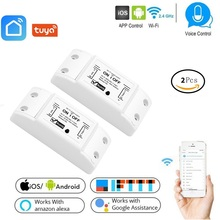 Smart Wifi Switch Wireless Light Timer Switch Remote Control 2pcs Lot Tuya Smart Life APP works with Alexa Google home IFTTT cheap lonsonho Ready-to-Go LSPC8-001 White AC 90~250V 88mm*38mm*22mm