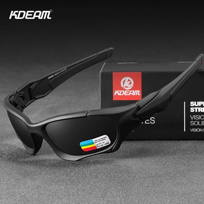 Kdeam exército óculos de sol óculos de sol polarizados esportes masculino curva corte quadro resistente ao estresse lente escudo óculos de sol
