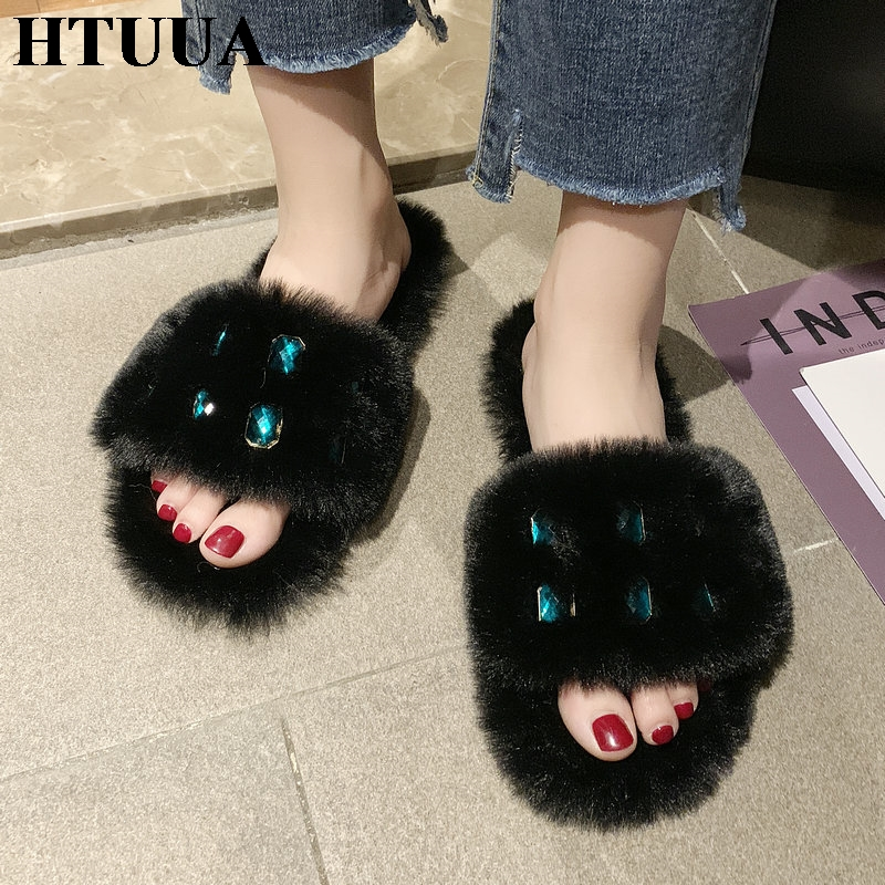 HTUUA Fur Slippers Crystal Glitter Home-Shoes Plush Furry Fluffy Winter Women Flat Slides