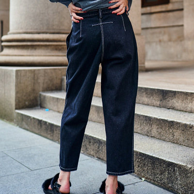 European Vintage Black Loose Jeans For Women High Waist Denim Jeans Women Sex Zipper Jeans Pants Feminina LX1818