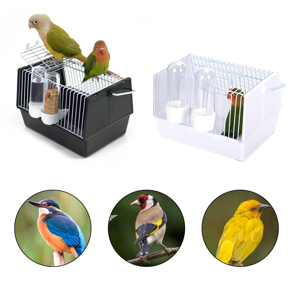 Birds Supplies Portable Bird Cage Parrot Transparent Transport Cage Plastic And Wire Bird Travel Carrier With Two Feeders