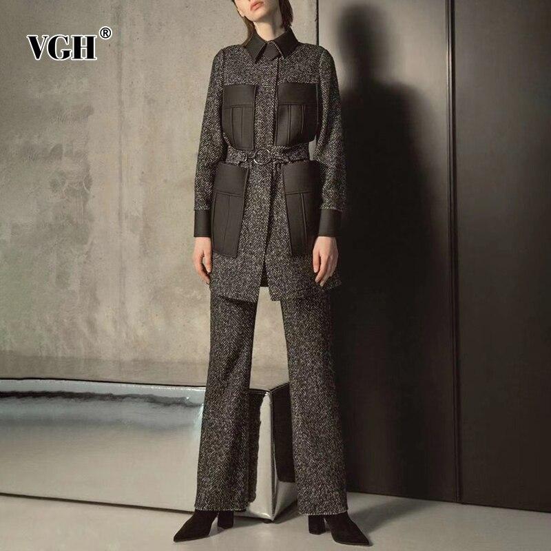 Купить женский комплект из двух предметов vgh лоскутный костюм с карманами