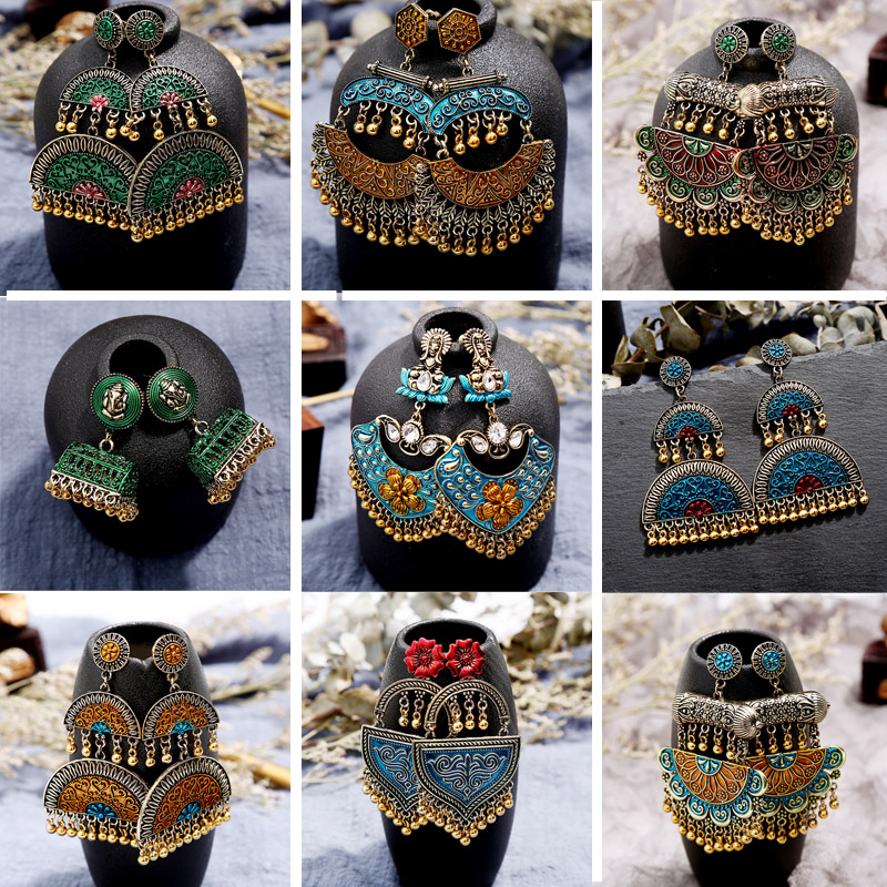 Louco Feng Sinos de Ouro Boho Indiano Jóias Vintage Brincos Declaração para As Mulheres Handmade Jhumka Oorbellen Gypsy Tribal Bijoux