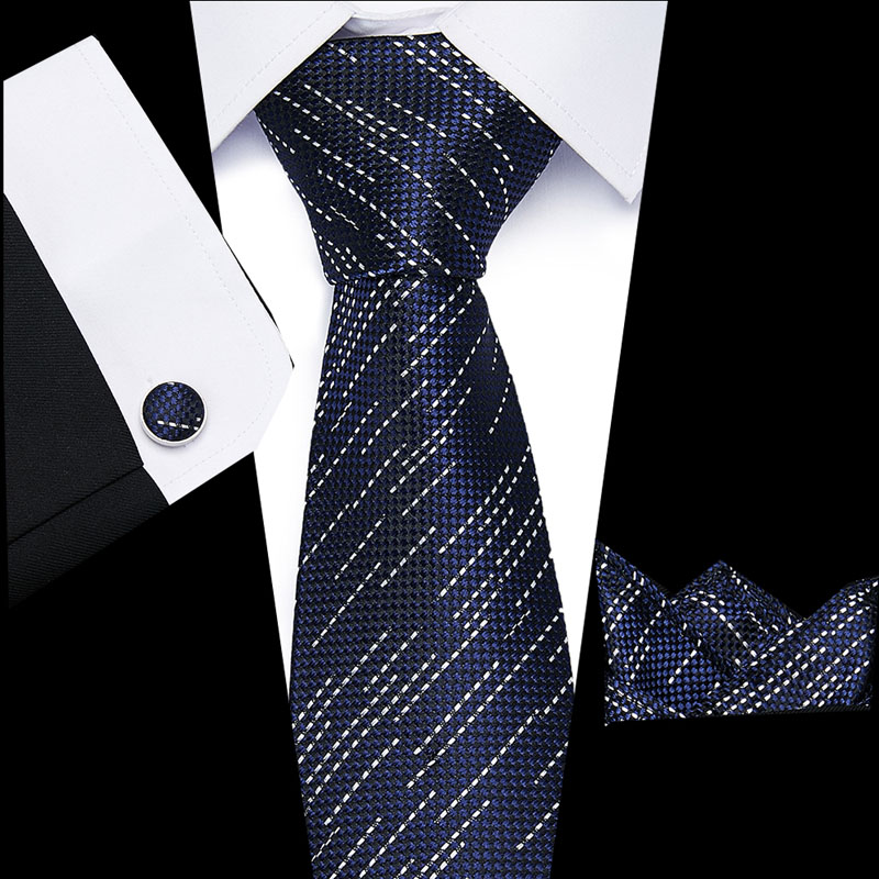 8cm Mens Tie Skinny  100% Silk Classic Jacquard Woven Extra Long Tie Hanky Cufflink Set For Men Formal Wedding Party