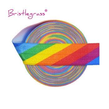 """BRISTLEGRASS-Cinta para el pelo para costura, 5 yardas, 3/4 """", 20mm, estampado de arco iris FOE Foldover, elástico banda de satén, diadema, tutú, vestido, DIY"""
